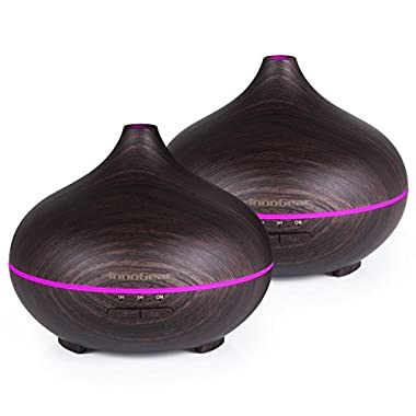 InnoGear 2 Pack 150ml Aromatherapy Essential Oil Diffuser Wood Grain Aroma Diffusers Cool Mist Humidifier with Timer Adjustable Mist 7 Color Changing Night Lights Waterless Auto Shut-off