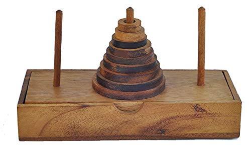 Puzzle de Madera - Juego de lógica - Torre de la Pagoda de Hanoi - 9 Niveles - Un Divertido Juego de Rompecabezas para Adultos y niños
