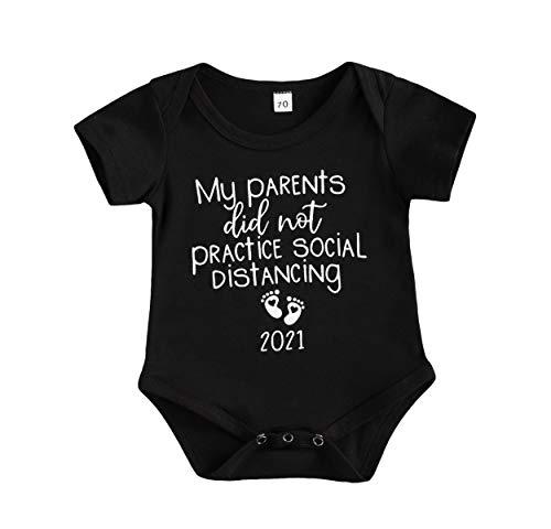 My Parents Did Not Practice Social Distancing Newborn Baby Boy Funny Quarantine Onesies Short Sleeve Cotton Bodysuits Romper Announcement Onesie (Black, 0-3 Months)