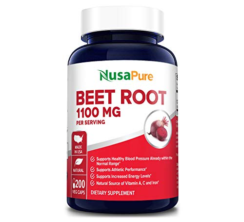 Beet Root 1100mg 200 Veggie caps (Non-GMO & Gluten Free,Made with Organic Beet Root Powder) - Helps lowering Blood Pressure, Supports Performance and Insulin Response & Maintains Skin Condition