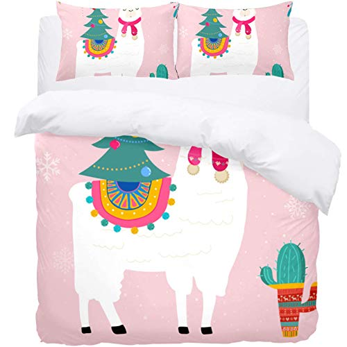 TIZORAX Single Bedding Duvet Cover Set -Chistmas Llama and Cactus 3 Piece Microfiber Comforter Set Quilt Cover and 2 Pillow Shams for Men Women