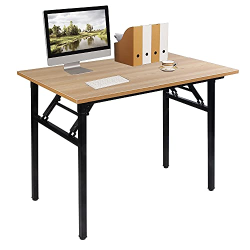sogesfurniture Folding Table Office Study Writing Desk Computer PC Laptop Table Workstation Dining Gaming Table, No Install Needed, 100x60x75cm, Teak&Black AC5TB-100-SF