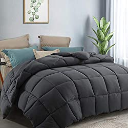 COTTONHOUSE Queen/Full Size Cooling Comforter Fluffy Reversible Quilted Duvet Insert Down Alternative Fill with Corner Tabs All Season - Machine Washable - Darkgrey
