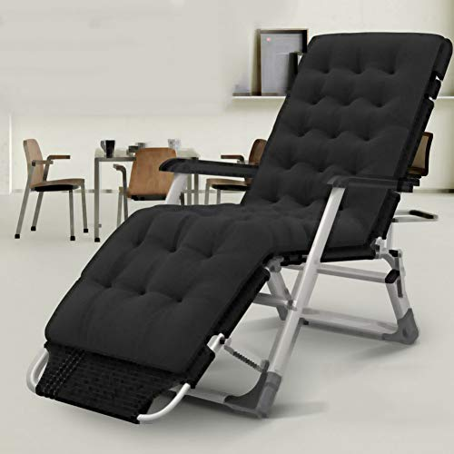 L&T Verstellbar Relaxstuhl Mit Gepolstert Sitzer,klappbar Liege Tragbare,Liege Klappstuhl Außen Terrasse Büro Strand Schwarz