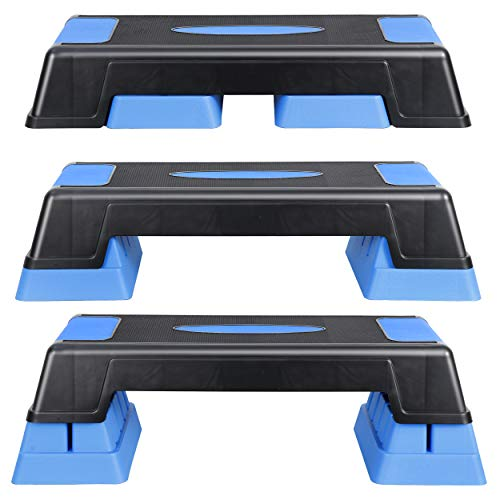 """ANT MARCH 30"""" Aerobic Stepper for Exercise Step Up Exercise Platform with Removable Raisers Adjust 5""""-7""""-9"""",Workout Stepper (Blue)"""