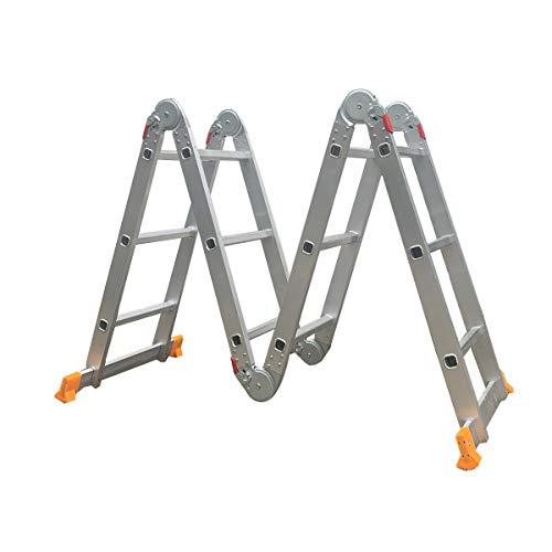 TABODD Escalera multifunción 6 en 1, de aluminio, hasta 150 kg, plegable, 3,7 m de longitud total, 4 x 3 peldaños