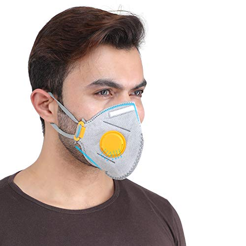 Grin Health P-Series P95 Anti-Pollution Mask with Air-Purifying Respirator (Grey, Standard)