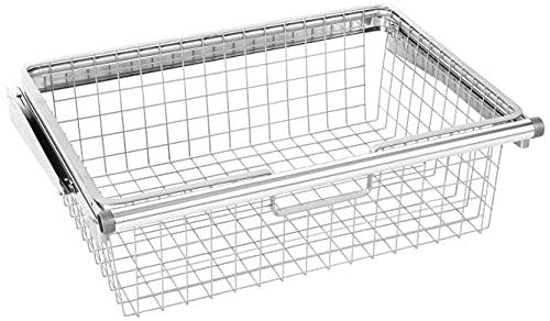 sliding baskets Rubbermaid Configurations Sliding Basket for Closet Drawer Organization, Sturdy Slide Out Basket, Titanium