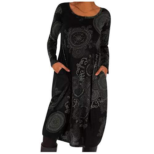Mujeres otoo Invierno Vestido Casual ms tamao Boho impresin Color Bloque Cambio Manga Larga Bolsillo Faldas Sueltas Vestido