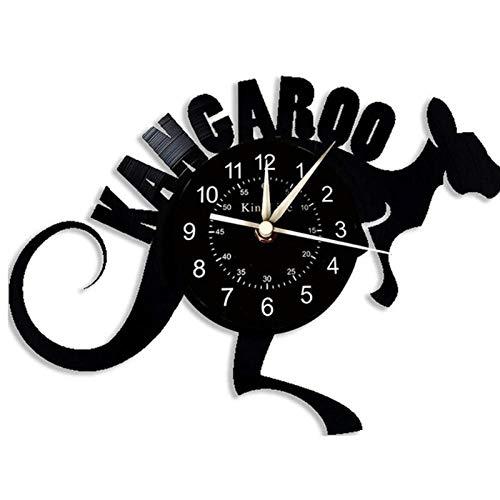 LiHiFG Reloj de Pared de Vinilo Animal Canguro - Idea de Regalo Original para él o Ella - Arte de Pared de decoración casera Fresca - Reloj de Pared de diseño Hecho a Mano