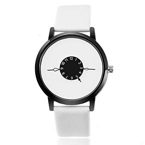 Vansvar - Reloj de pulsera analógico para hombre, diseño redondo, correa de acero inoxidable, color negro
