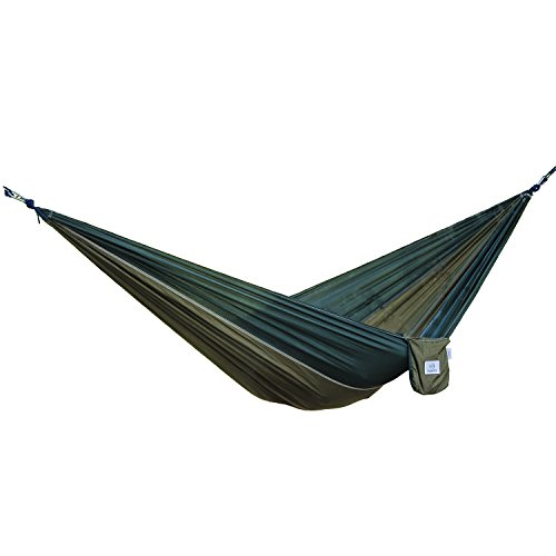 OuterEQ Portable Nylon Fabric Travel Camping Hammock Army/Olive
