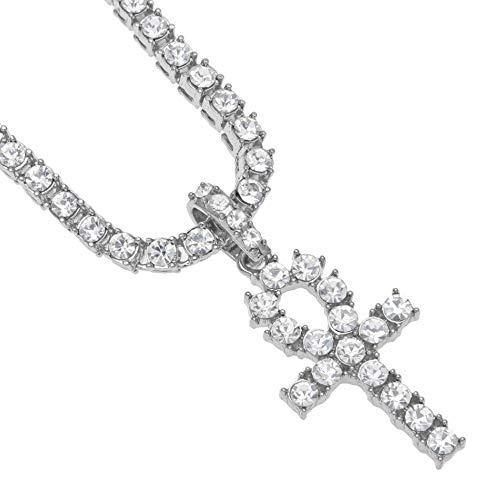 JEISO Diamantes Egipcios Anhe Collares Clave Europeos Americanos Hip-Hop con Colgante de Cruz Acero Inoxidable para Hombres y Mujeres (Cadena de Diamantes de Plata y Agua)