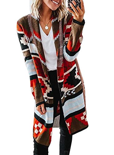 LOSRLY Damen Mode Casual Strickwaren Ethno-Stil Taille Krawatte Pullover Knielang Offene Front Cardigan Damen Herbst Winter Casual Langarm Sweatshirt Gr. M, mehrfarbig