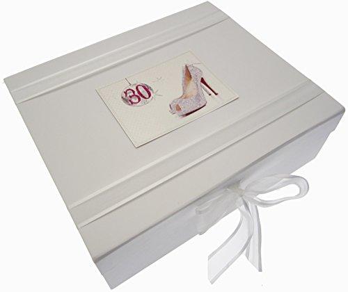 White Cotton Cards Boîte souvenir 30th Birthday Boule à paillettes et les chaussures (Taille L)
