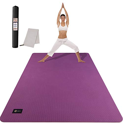 CAMBIVO Large Yoga Mat (6' x 4' x 6mm), Extra Wide TPE Mat for Men and Women, Exercise Fitness Mat for Yoga, Pilates, Workout (Purple)