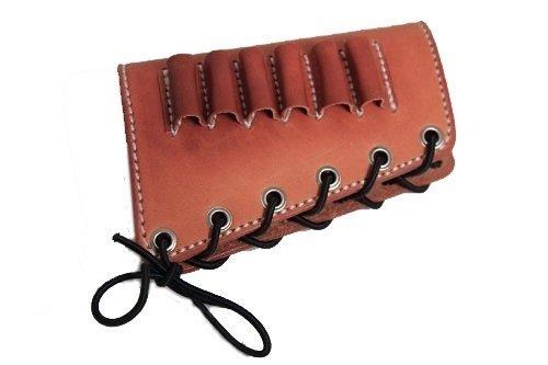 vsdfvsdfv Leather Cartidge Buttstock Shotgun Shell Holder, Hunting Buttstock Ammo Holder Pouch Bag for Rifles, Shotgun Shell Pouch Shell Holder Stock (Brown, 45-70)