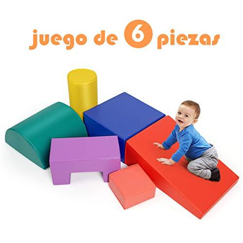 COSTWAY Juego de 6 Piezas Bloques de Construcción de Espuma Figuras de Juguete Educativo para Niños para Salón Habitación
