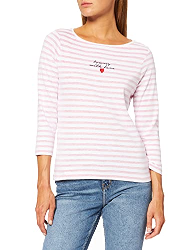 Tommy Hilfiger Inj Tommy with Love C-nk 3/4 Slv Camiseta, Classic White Red STP, XS para Mujer