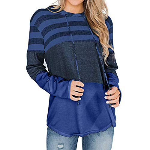 Hoodie Women Elegant Striped Patchwork Long Sleeve Loose Thin with Drawstring Sweatshirt with Hood Pullover Long Blouse Autumn Winter New Comfortable Light Top XL