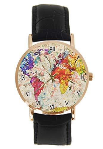 Novedad Grunge Mapa del Mundo Reloj de pulsera de moda clásico unisex analógico cuarzo caja de acero inoxidable correa de cuero relojes