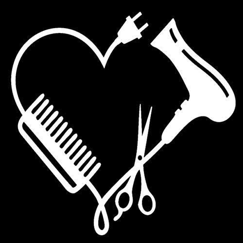 BLOUR Peluquería corazón Peine Tijeras Pegatina Moda Coche decoración Personalidad PVC Impermeable calcomanía Negro/Blanco, 13 cm * 13 cm