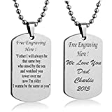Streetsoul Customized Personalized Engraved Silver Stainless Steel 2Mm Army Tag Unisex Necklace- Engraved On Both The Sides