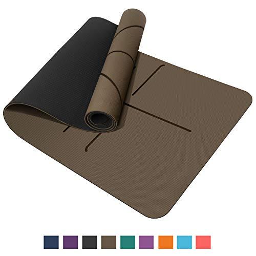TOPLUS Preumium Yogamatte aus hochwertigen TPE, rutschfest Yogamatte Gynastikmatte Übungsmatte Sportmatte für Yoga, Pilates,Fitness usw.- Brauen