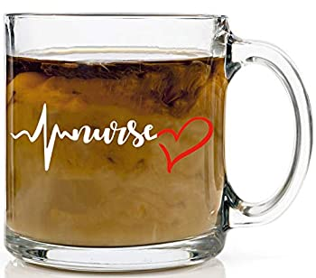 Nurse Heart Beat - Funny Nurses Mugs Cute Enough To Stop Your Heart Physician Assistant Emergency Room Nurse Cup - 13oz Glass Mug By Funnwear