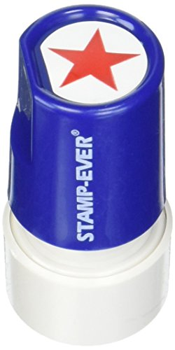 Stamp-Ever Pre-Inked Round Message Stamp, Star, Stamp Impression Size: 3/4-Inch Diameter, Red (5979)