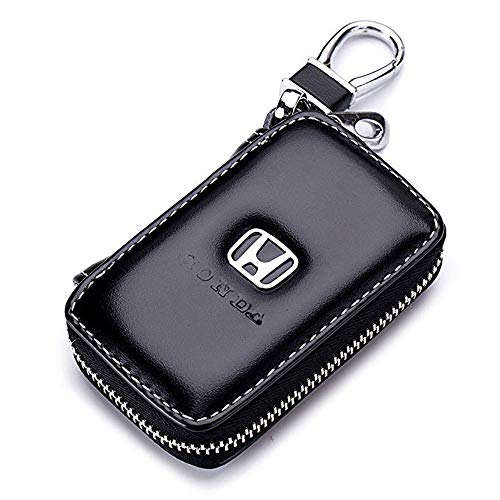 Gaocar Auto Parts Car Key case for Honda,Genuine Leather Car Smart Key Chain Keychain Holder Metal Hook and Keyring Zipper Bag for Remote Key Fob - Black (for Honda)