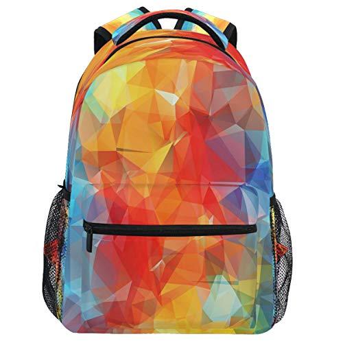 Oarencol mochila geométrica arcoíris, multicolor, abstracto, triangular, mochila de viaje, senderismo, camping, escuela, portátil