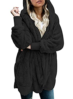 Dokotoo Womens Casual Ladies Fashion 2020 Chunky Fuzzy Winter Fall Open Front Long Sleeve Fluffy Hoodies Fleece Cardigans Sweaters Jackets Coats Outerwear Black Small