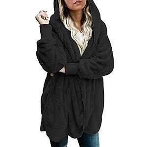 Dokotoo Womens Long Sleeve Solid Fuzzy Fleece Open Front Hooded Cardigans Jacket Coats Outwear...