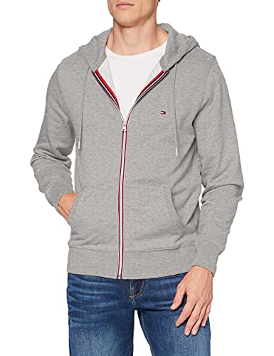 Tommy Hilfiger Herren Core Cotton Zip Hoodie Pullover, Medium Grey Heather, L