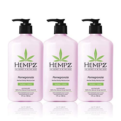 Hempz Pomegranate Herbal Body Moisturizer, 17 Fl Oz, 3 Pack Bundle - Paraben-Free & Moisturizing Cream for All Skin Types, Anti-Aging Hemp Skin Care Products for Women & Men - Hydrating Gluten-Free