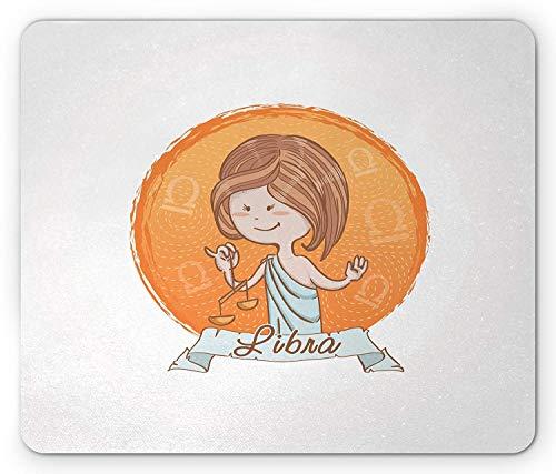 Alfombrilla de ratón Zodiac Libra, estilo de dibujos animados Mujer griega antigua...