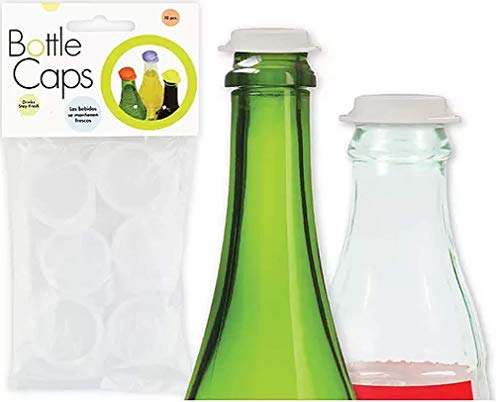 Linden Sweden Reusable Plastic Bottle Caps, Set of 10 - Save Beverages, Prevent Spillage - Dishwasher-Safe - BPA-Free​, White