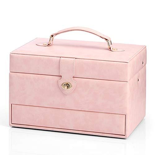 hanxiaoyishop Joyero organizador de joyas para mujer, caja de regalo vintage, organizador de joyas con cerradura (color rosa