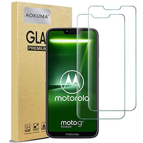 AOKUMA Cristal Templado Motorola Moto G7 Power, [2 Unidades] Protector Pantalla para Motorola Moto G7 Power Robusto Antiarañazos Antihuellas con Borde Redondeado Dureza 9H+ Antiburbujas
