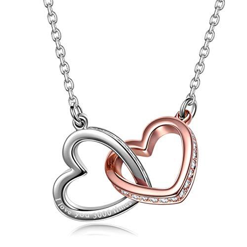 Kami Idea Halskette Damen - Mein Schicksal - Herz zu Herz Anhänger, Kristalle von Swarovski, Rosegold Damen Modeschmuck, Geschenkverpakung