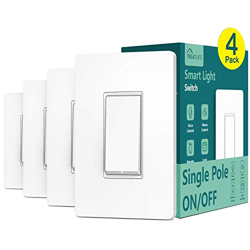Single Pole Treatlife Smart Light Switch, 4 Pack, Neutral Wire Required, 2.4Ghz Wi-Fi Light Switch, Works with Alexa and Google Home, Schedule, Remote Control, ETL Listed, FCC