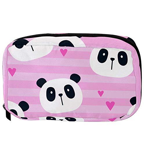 TIZORAX Cosmetic Bags Cute Panda With Heart Pattern Handy Toiletry Travel Bag Organizer Makeup Pouch for Women Girls