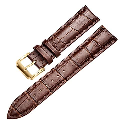 Banda de Reloj del Cuero del Becerro Suave Genuino Correa de Reloj de 18mm 20mm 22mm 24mm Venda de Reloj de Pulsera de, Oro marrón, 13mm