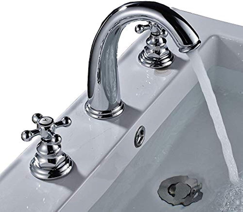 360 ° drehbarer Wasserhahn Retro Faucetrozin Chrome Weite Verbreitung 3-Loch-Becken Wasserhahn 2 Knpfe Mischbatterie