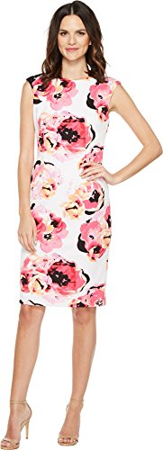 Tahari ASL Women's Leonora Dress, Multicoloured (White/Magenta/Black), 12 (Manufacturer Size:8)