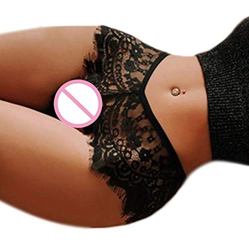 YUKJ Womens Erotic Sheer Briefs Lingerie Hollow Out Crochet Eyelash Floral Lace G-String Underwear Solid Color Seamless Panties Thong