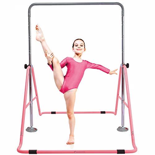 Gymbarpro Expandable Gymnastics Bar Junior Training Bar Adjustable Height Gymnastic Folding Horizontal Bars for Kids Home Use (Pink)