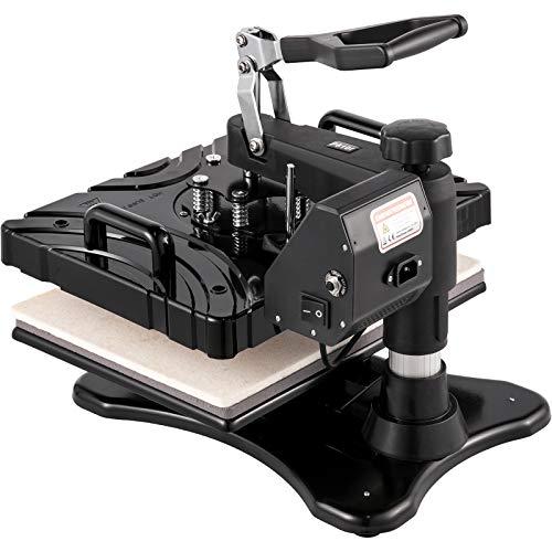 VEVOR P8100-03 6 in 1 Transferpresse 38 x 29 cm Heißpresse Maschine 1000 W T-Shirt Presse Maschine Hitzepresse Maschine DIY Heat Press Schwarz mit Digitaler LED-Temperatur- und Zeitcontroller