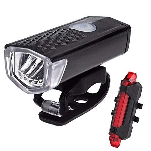 SEEZEN USB Juego de luces para bicicleta recargables superbrillantes y luz trasera para bicicleta LED, batería de litio de 1200 mA, resistente al agua, 3 modos de iluminación